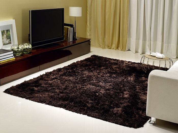 Tapete Shaggy são queles tapetes mais felpudos e volumosos, nesse caso, decorando uma sala de TV