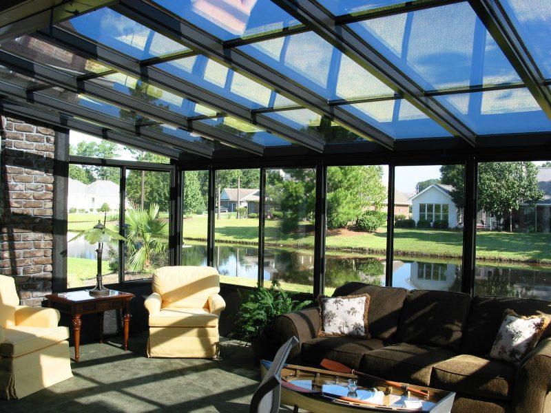telhado de vidro em varanda