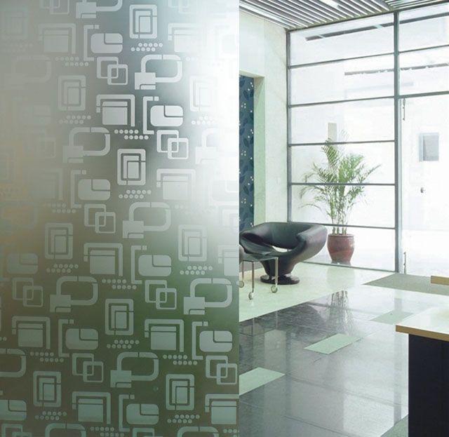 Uma ideia super contemporânea: divisórias para escritório em vidro com jateado em padrões modernos