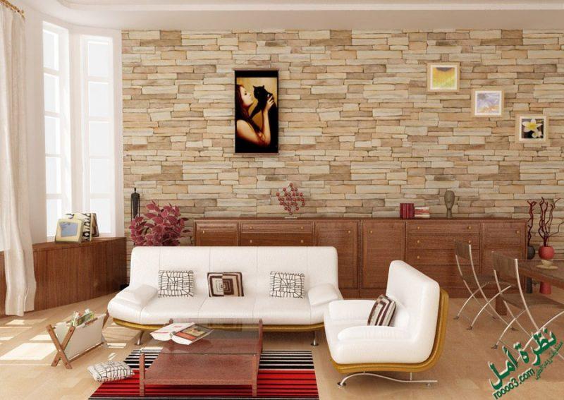 Revestimento da parede da sala feito com pedra mineira, criando um efeito super diferenciado no revestimento dessa parede