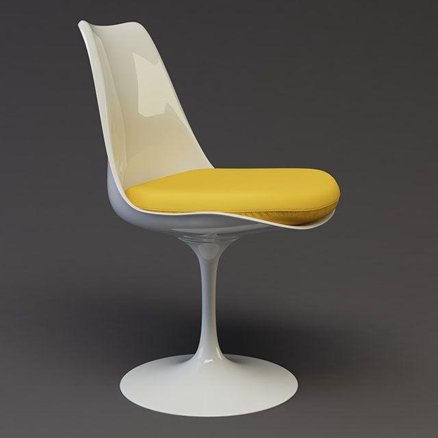 cadeira tulipa branca e amarela