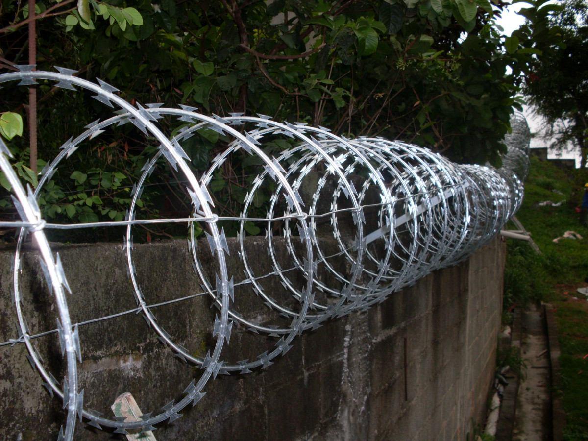 cerca concertina - material cortante usado para dar mais segurança a muros e cercas