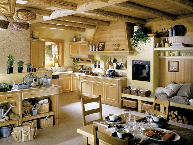 Cozinha com ar super rústico nessa decoração toda feita em madeira