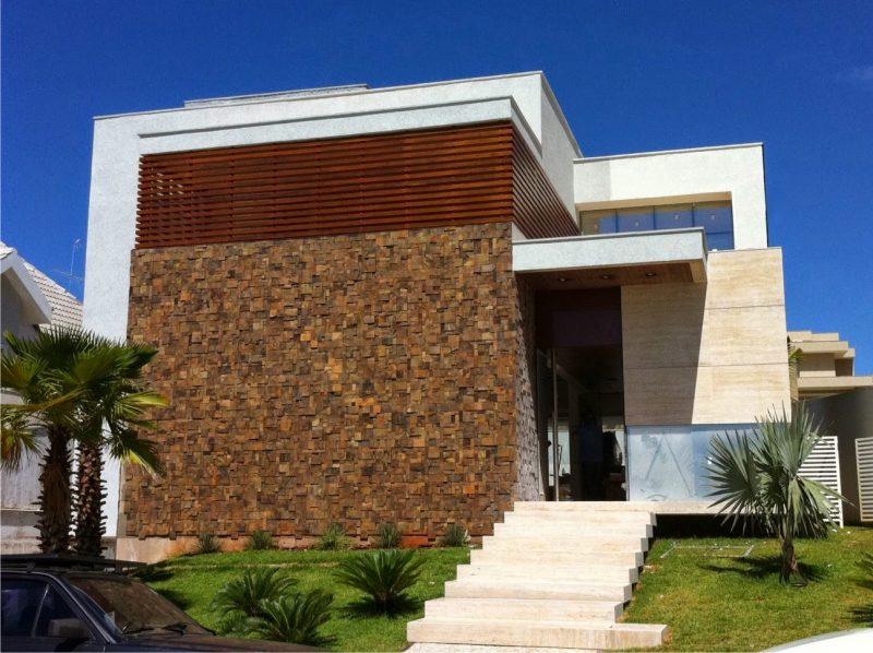 Revestimento de uma fachada em pedra