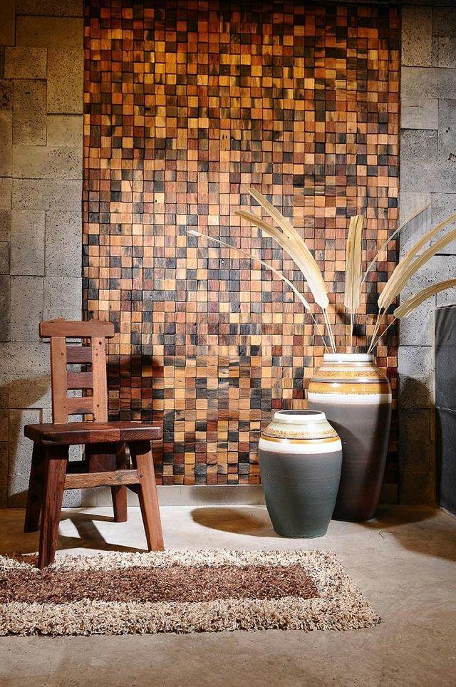 revestimento mosaico de madeira parede