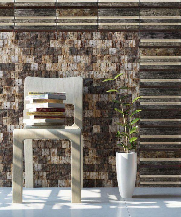 revestimento mosaico madeira de demolição