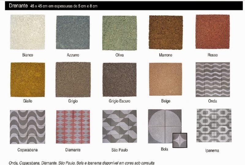 Variedade de cores de bloquetes para piso intertravado de concreto