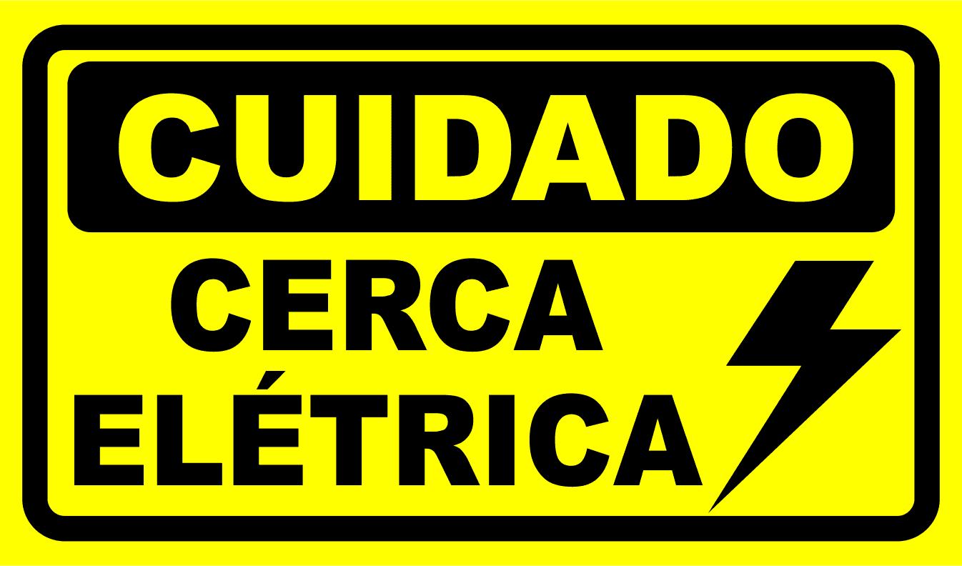 Sinal de aviso necessário para cerca elétrica para prevenção de acidentes