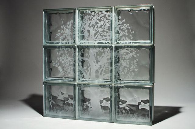 tijolo de vidro jateado