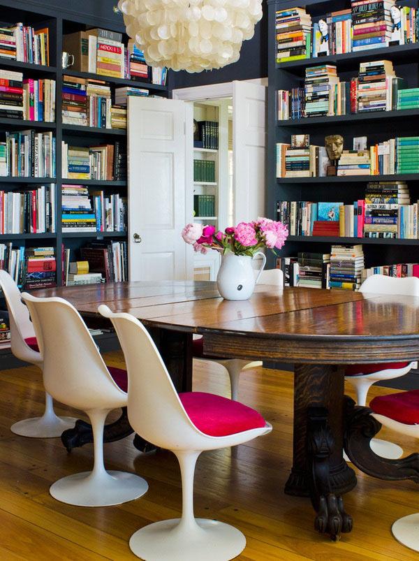 cadeira tulipa decoração biblioteca