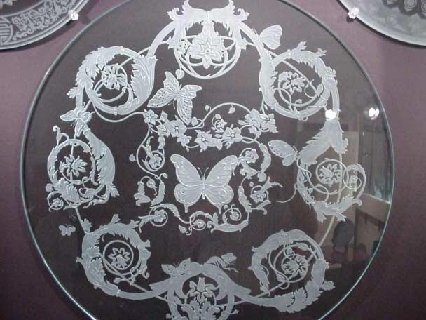 bandeja de vidro jateado