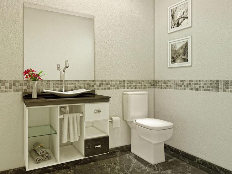 Um armário mais clássico, todo em branco que ocupa toda a parede do banheiro