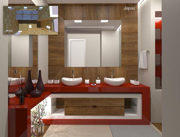 bancada de banheiro vermelha para dar mais vida ao seu ambiente