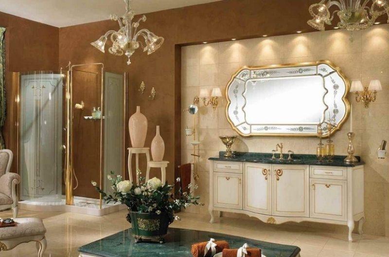 Móveis antigos fazem o tom da decoração desse lavabo clássico