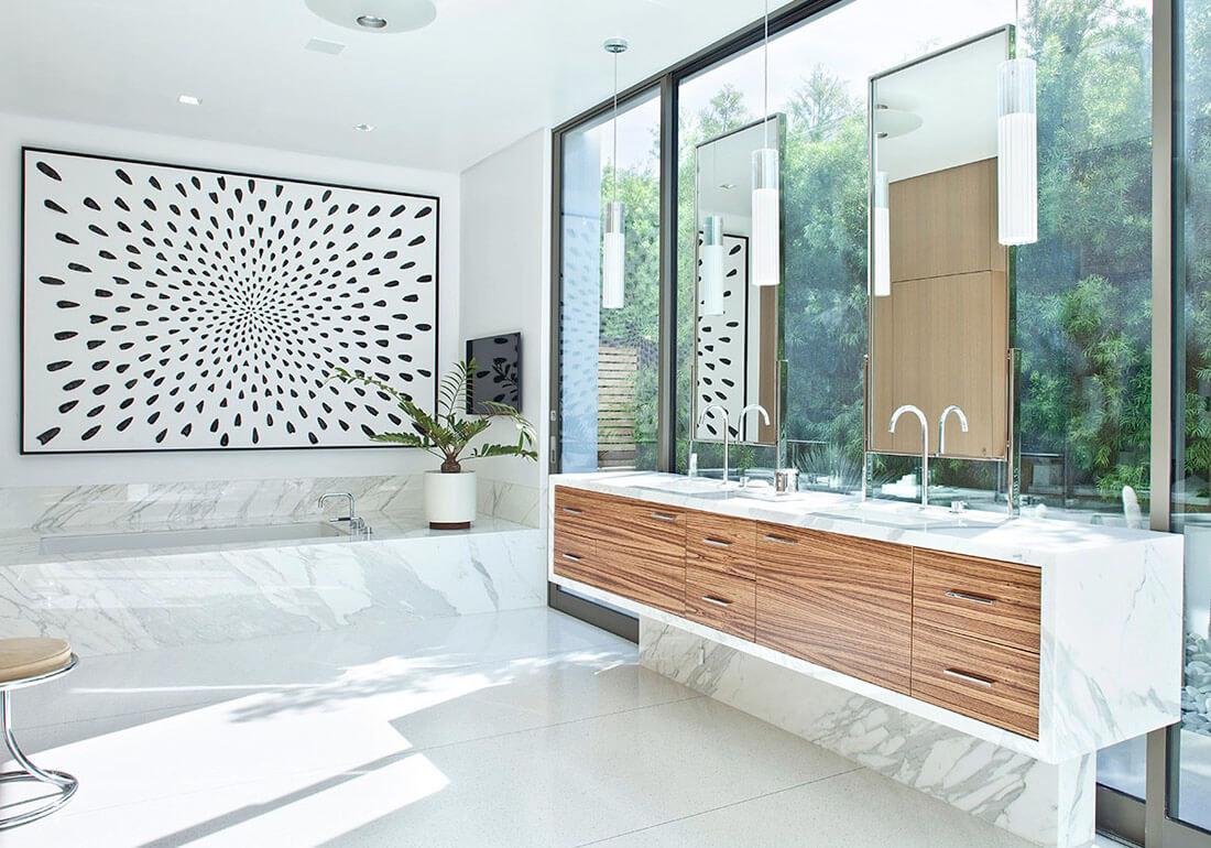 decoração muito mais clean e moderna para um banheiro espaçoso
