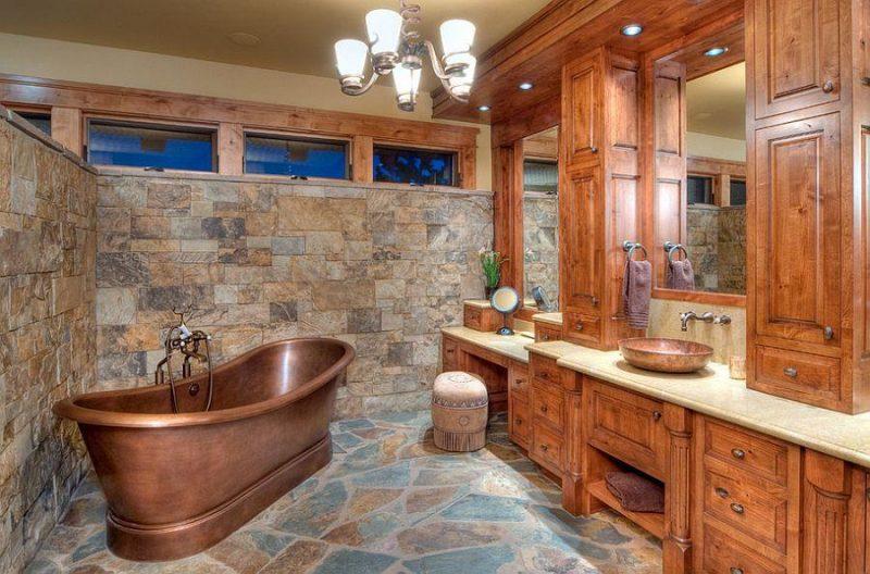 Móveis de madeira em banheiro no estilo rústico