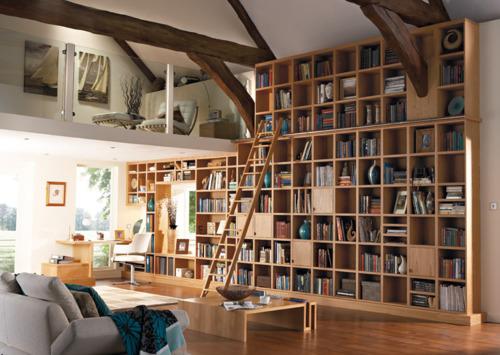 Grande biblioteca residencial para casas com área quadrada muito grande