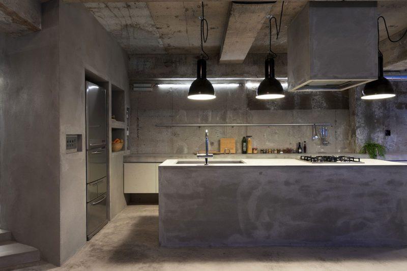 cozinha brutalista cimento queimado