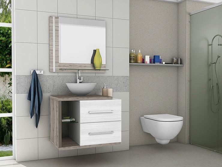 Armário de banheiro suspenso com bancada de madeira