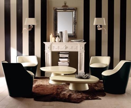 E por último, o bom e velho preto-e-branco, que é super elegante e pode ser usado para decorar a sala, mesmo em paredes listradas.