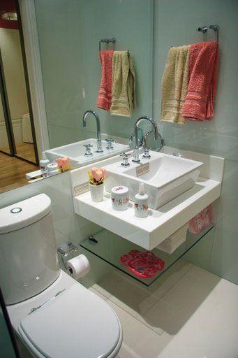 Prateleiras de Vidro para quarto, sala e banheiro -> Pia Do Banheiro De Vidro