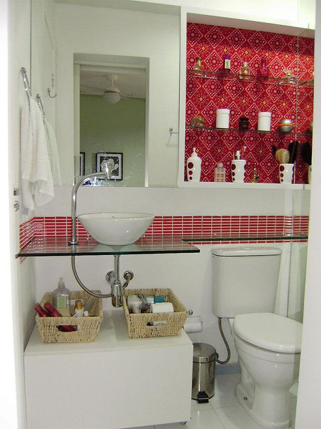 bancada prateleira de vidro banheiro