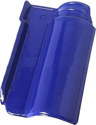 Telha portuguesa esmaltada em coloração azul intensa