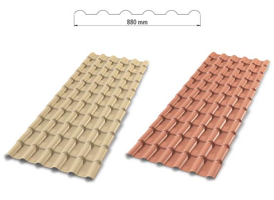 Telhas precon plan em plástico PVC, nas cores cerâmica e marfim