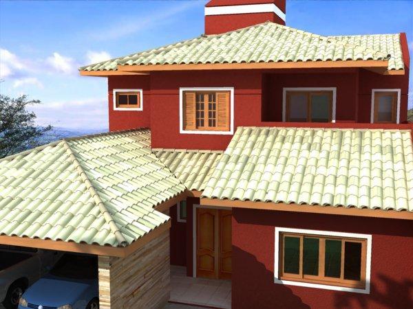 Residência com telhado 4 águas com telha colonial em barro branco