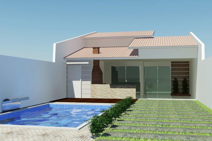 Projeto residencial com uso de telhado meia água colonial