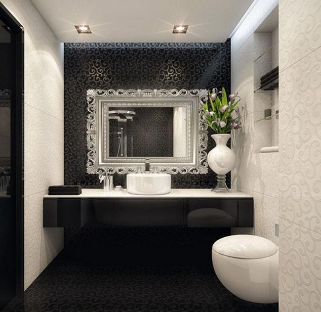 60+ Ideias de DECORAÇÃO PRETO E BRANCO → Modelos e Fot -> Decoracao De Banheiro Preto E Branco Fotos