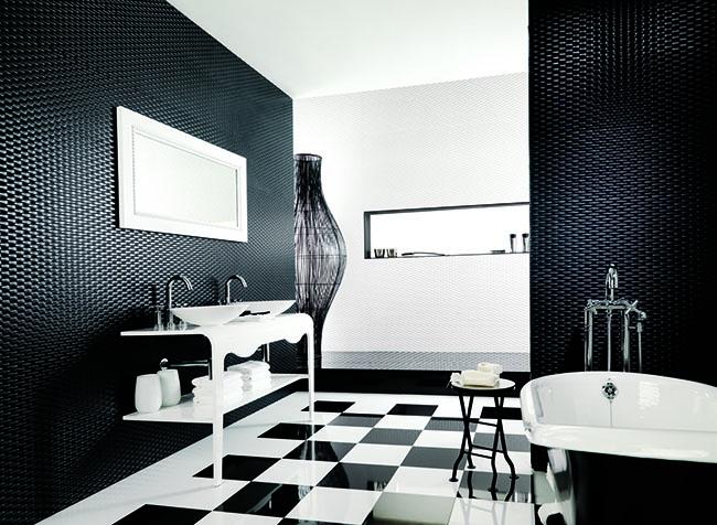Decoração de banheiro em preto e branco 2