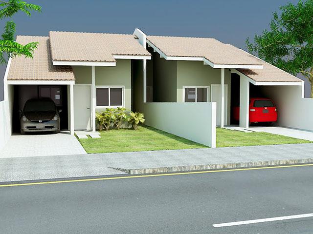 Fachada de casas sem muro geminadas
