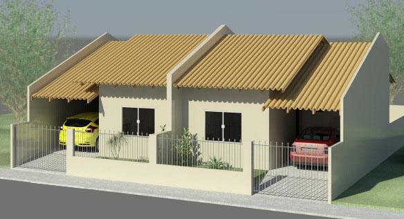 Casas super simples geminadas com portão e garagem