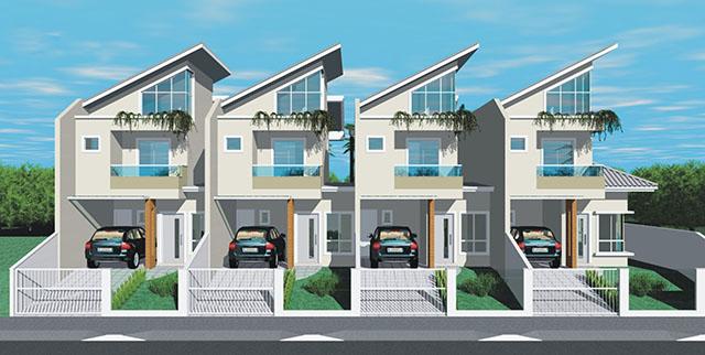 Projeto de quatro solares geminados super modernas, com direito a floreira no terceiro andar e garagem no térreo