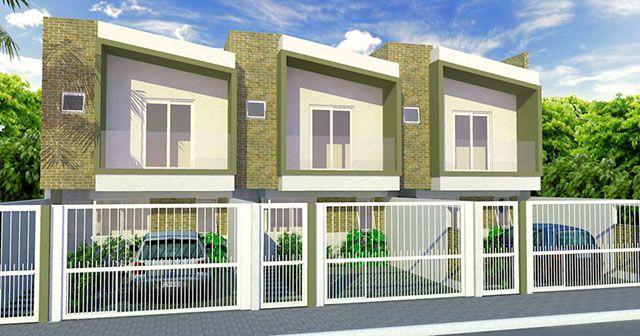 Projeto simples e compacto de casas modernas geminadas. o revestimento em pedra valoriza a divisão entre as unidades.