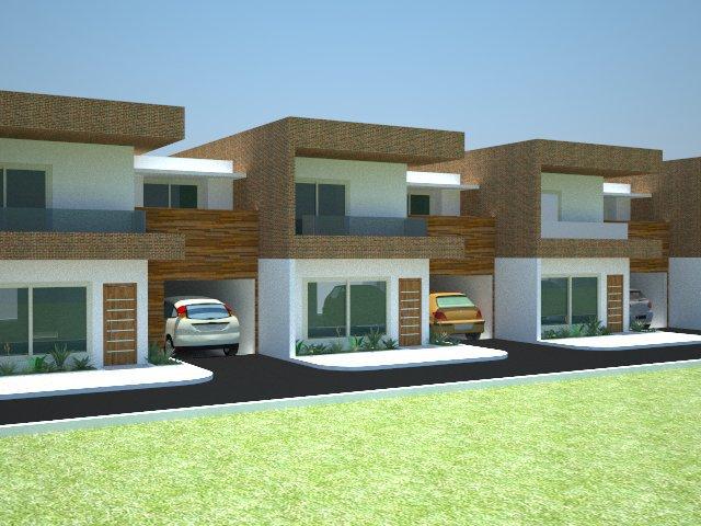 projeto com fachada super contemporânea para casas geminadas, usando madeira e pedra no revestimento