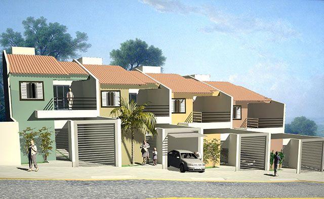 Projeto de sobrados geminados de dois andares, com garagem, para a cidade.