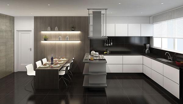 Piso em granito negro em cozinha moderna