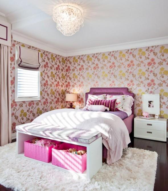 O uso de estampas florais pode incrementar muito bem o quarto feminino