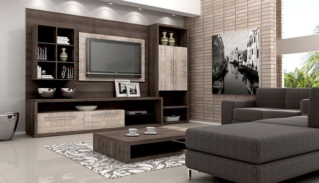 Estante para sala moderna com Home Theater e mesa de centro