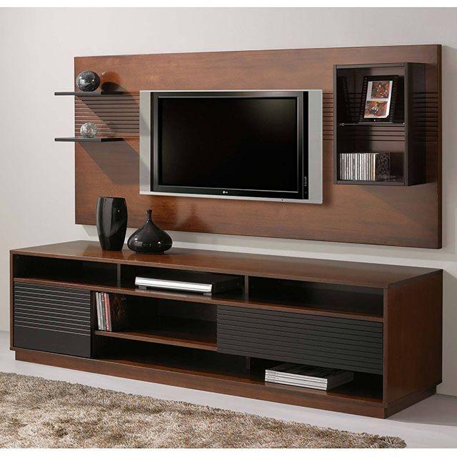 Rack simples de madeira para televisor na sala