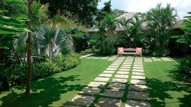 Uso da grama bermuda em jardim de casa moderna