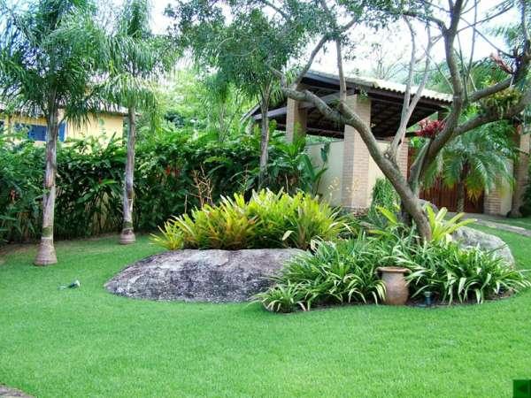 Jardim com grama coreana, usando várias plantas exóticas no jardim