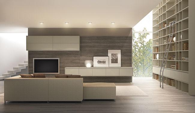 Home Theater em sala ampla e moderna com revestimento de madeira