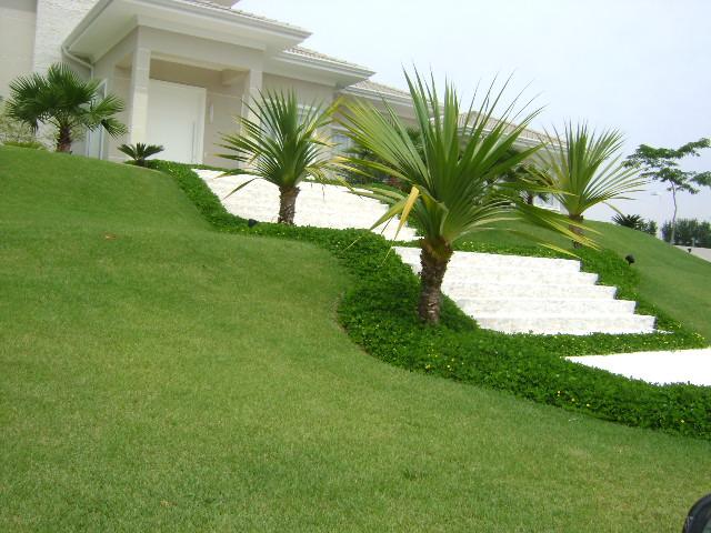 Jardim com grama esmeralda em casa super contemporânea
