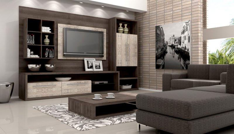 Mesa de centro baixa compondo a decoração de home cinema