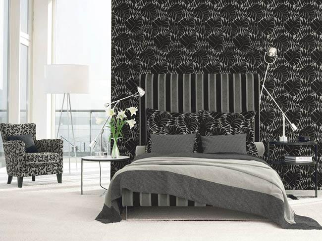 Quarto decorado em preto e branco 2
