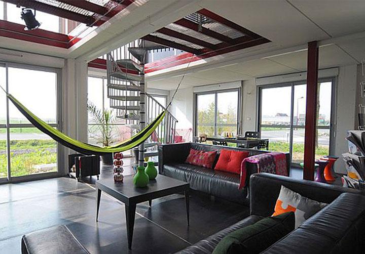 modelo de rede de deitar totalmente integrada com a sala de estar moderna