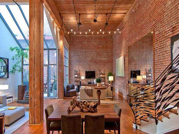 Interior revestido em tijolos aparentes em Loft de São Francisco